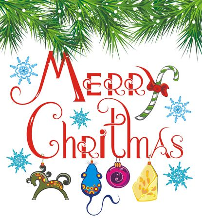 Christmas Typographical background. Merry christmas lettering inscription to winter holiday design Ilustração