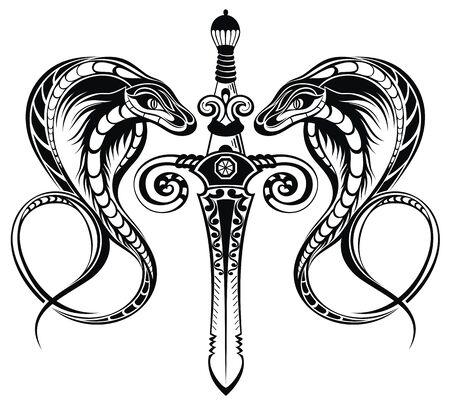 Abstract vector illustration sword with snake. Ilustração