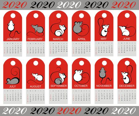 2020 vector calendar with hand drawn illustartions of rats