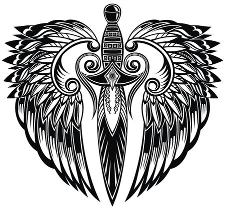 Sword with wings. Tattoo of a sharp sword with flowing wings in tribal style Vektorové ilustrace