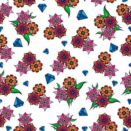 Decorative diamond. Flowers vector illustrations.