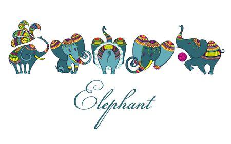 Cute cartoon elephants. African safari animals vector set Ilustração