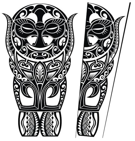 Set of Maori style ornaments. Ethnic themes Ilustração