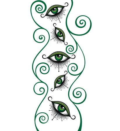 Abstract symbol of All-seeing Eye with floral design elements Ilustração
