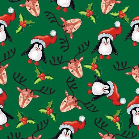 Christmas deer and penguins illustration. Merry christmas
