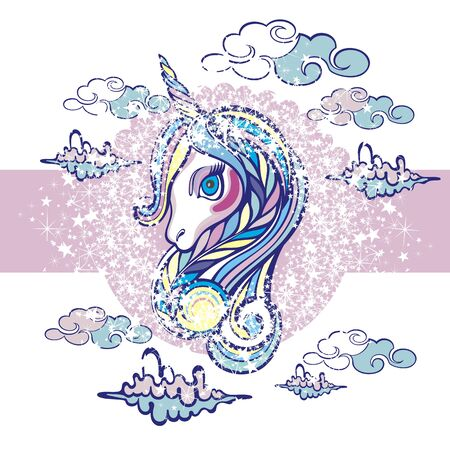 Beautiful unicorn head. Beautiful unicorn on clouds with stars illustration