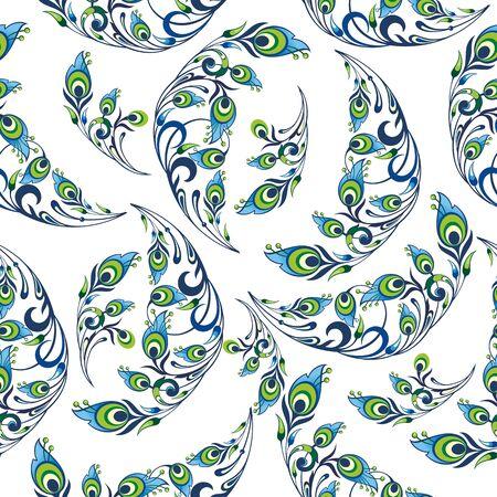 Peacock pattern. Seamless pattern with stylized bird feathers.