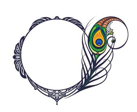 Peacock feather. Vector isolated peacock feather frame