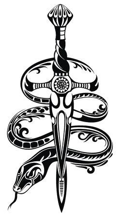 Serpente e spada disegnati in stile tatuaggio. Illustrazione vettoriale.