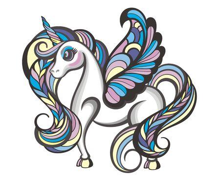 Cute little magical unicorn. Vector design Illusztráció