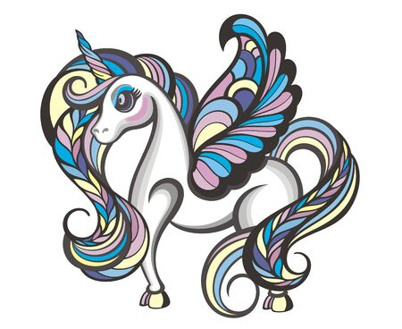 Cute little magical unicorn. Vector design Illustration