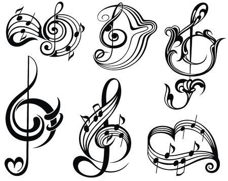 Elementos de diseño de nota musical.Ilustración de vector