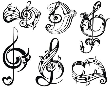 Musiknote-Design-Elemente. Vektor-Illustration