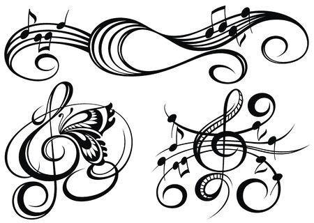 Note musicali, elemento di design musicale, isolato, illustrazione vettoriale.
