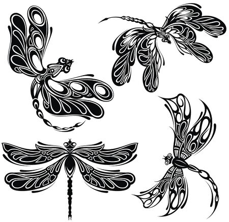 Elegant dragonfly silhouettes. Set of silhouettes of dragonflies, tattoo Stock Illustratie