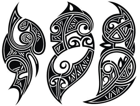 Dekorative Ornamente. Tattoo-Vektor-Designs Vektorgrafik