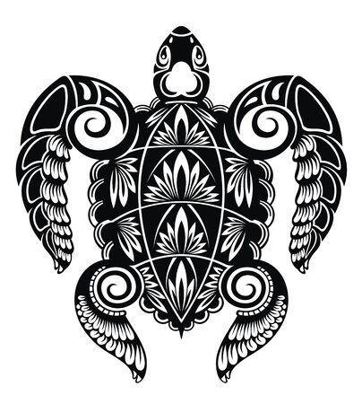 Graficzny żółw morski. Ilustracja wektorowa żółwia morskiego Ilustracje wektorowe