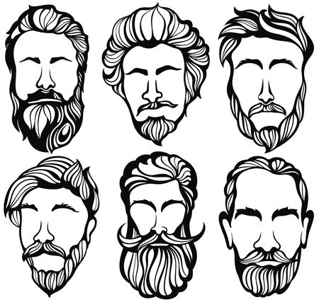 Set of mens hairstyles, beards and mustaches. Gentlmen haircuts and shaves. Illustration
