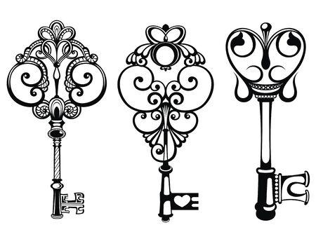 Ornamental medieval vintage keys. Antique keys