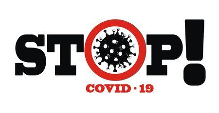 Pandemic stop Novel Coronavirus outbreak covid-19 2019-nCoV symptoms Ilustración de vector