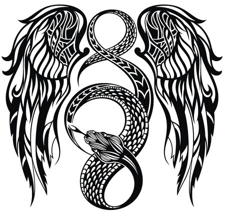 Abstract vector illustration snake and wings