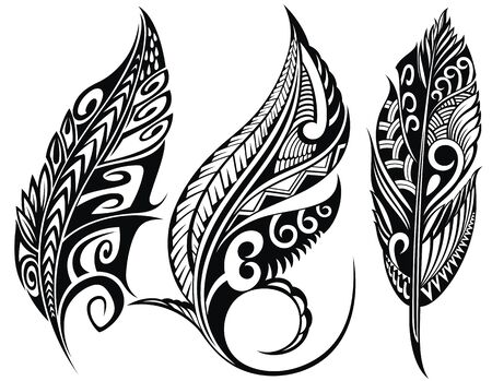 Set of stylized bird feathers. Collection of feathers for decoration. Tattoo.