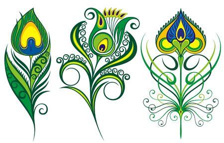 Vektorillustration des schönen Pfauenfedersatzes lokalisiert auf einem weißen Hintergrund.