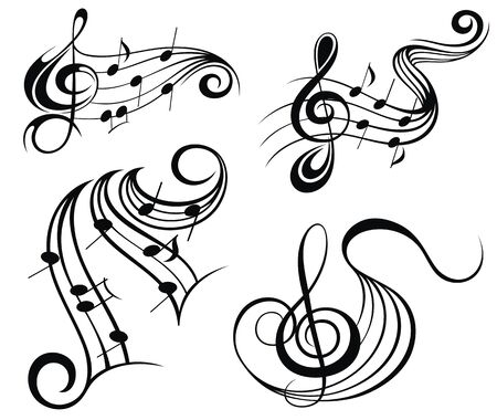 Abstract music symbols vector illustration for your design Ilustracje wektorowe