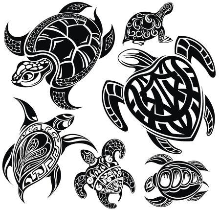 Vettore di disegno della tartaruga su sfondo bianco. Animali rettili.