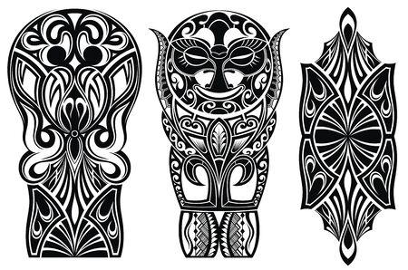 Tattoo-Set für Schulterdesign. Schulter abstrakte Tattoo-Kunst-Stammes-Vektor.
