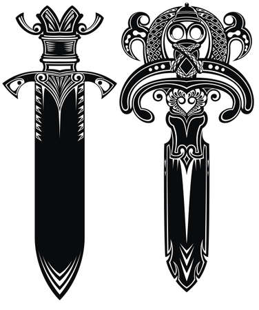 Sword tattoo viking set Celtic knightly emblem Vectores