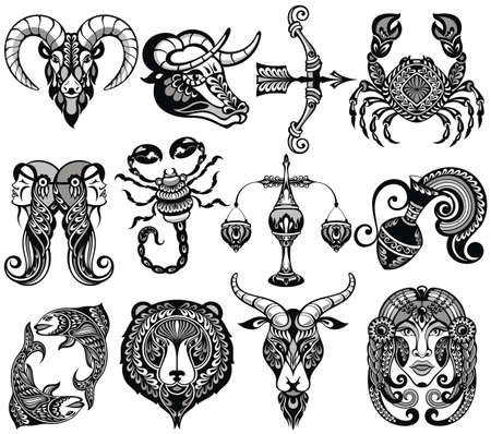 Black and white set of zodiac signs icons.Tattoo style