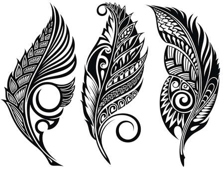 Vector Peerless Decorative Feathers, Tribal design, Tattoo
