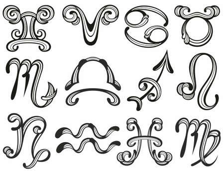 Zodiac signs set. Astrological illustration