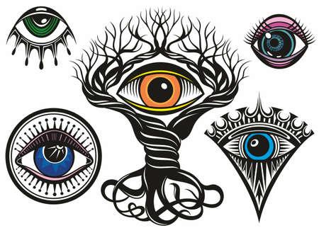 Eye. Eye Tattoo design element. The third eye vector illustration.