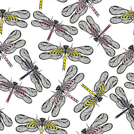Seamless pattern with silhouette dragonflies.