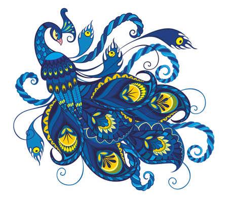 Peacock isolated on white background. Vector illustration. Ilustração Vetorial
