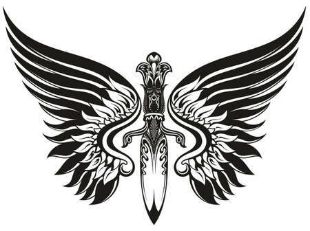 Black and white winged sword design