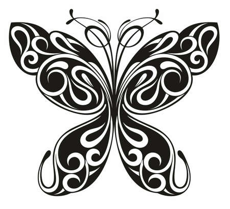 Graphic icon of butterfly. Butterfly tattoo isolated on white background.