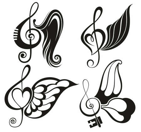 Silhouette winged note music symbol 向量圖像