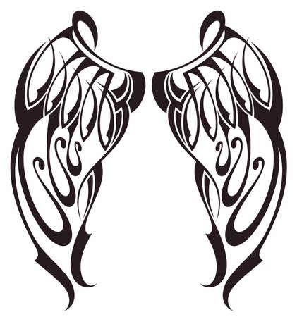 Angel wings. Bird wings. Design element for tattoo. Vektorgrafik