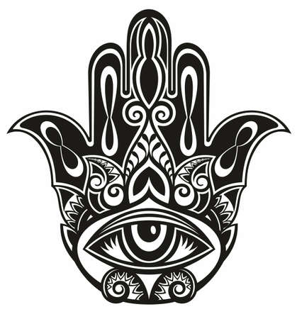 Hamsa, hand of Fatima, vector illustration Vektoros illusztráció