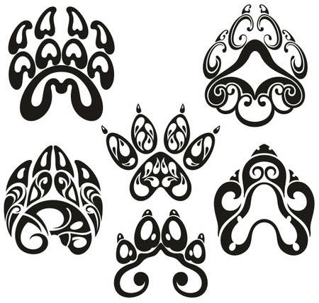 Dog and cat paw print vector icon. Paw of an animal, canine footprints.