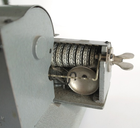 Fragment of vintage mechanical arithmometer