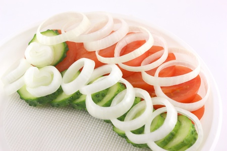 Salad with tomato, cucumber and onion