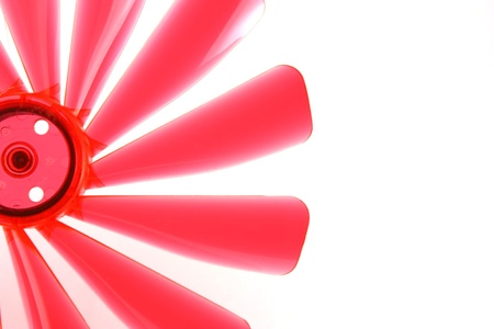 Fragment of red propeller on the white background