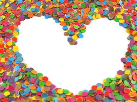 Frame from multi colour circles from paper, shape - heart