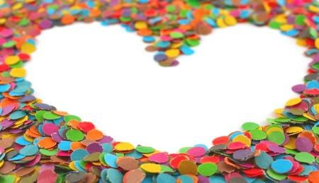 Frame from multi colour circles from paper, shape - heart. Shallow DOF Stock Photo