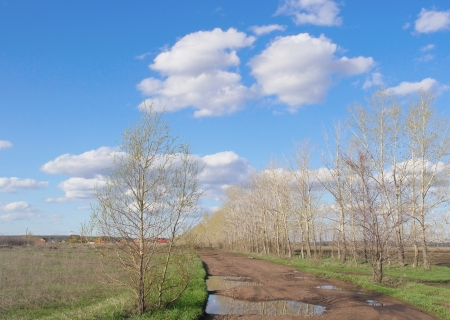 Village landscape with blue sky and clouds