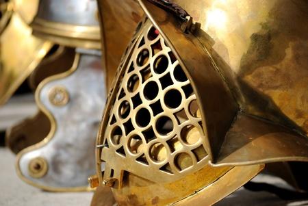 a detail of a ancient roman helmet
